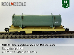 Containertragwagen mit Müllcontainer (N 1:160) in Smooth Fine Detail Plastic