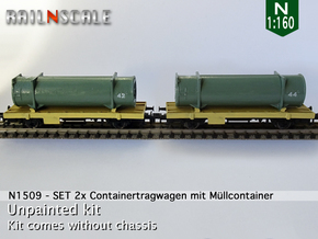 SET 2x Containertragwagen mit Müllcontainer (N) in Smooth Fine Detail Plastic
