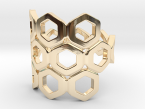 Bee Square 3S Ring in 14k Gold Plated Brass: 4 / 46.5