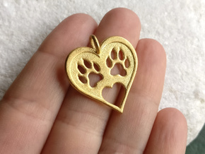 Cat paw print love heart pendant in Polished Gold Steel