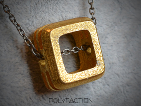Embrace ::: Square Pendant ::: v.01 in Polished Gold Steel