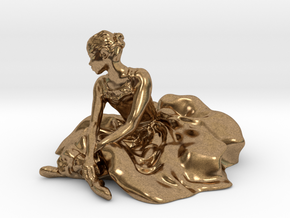 Seated Ballerina in Natural Brass: Small