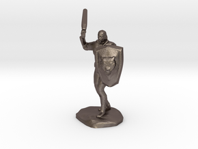 Barbarian with Sword and Bear Shield in Polished Bronzed Silver Steel