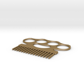 Brass Knuckle Comb/Beard Comb (inward teeth) in Polished Gold Steel