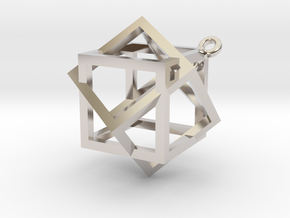 Boxed Box Pendant in Rhodium Plated Brass