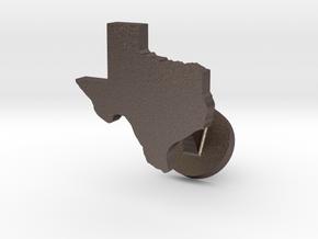 Texas Cufflink - Curved Bar in Polished Bronzed Silver Steel