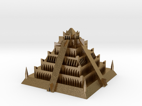 Atlantian Pyramid in Polished Gold Steel: Extra Small
