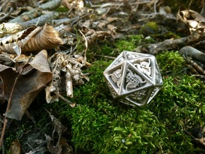 Tengwar Elvish D20 in Polished Nickel Steel: Small