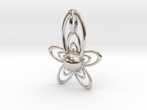 At Pendant in Rhodium Plated Brass