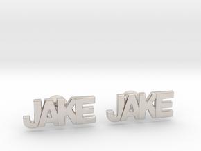 Custom Name Cufflinks - Jake in Rhodium Plated Brass