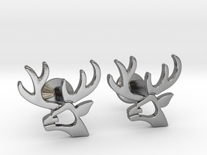 Stag Hebrew Monogram Cufflinks  in Polished Silver