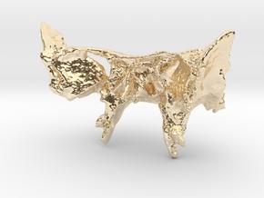 Human Sphenoid Bone Pendant in 14K Yellow Gold