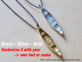 Silver-Canoe with your Text / Name in Polished Silver