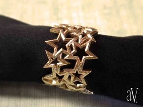 Scatter 5 Sided Stars Ring in Raw Brass: 8 / 56.75