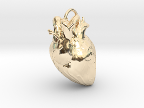 Heart pendant in 14k Gold Plated Brass: Small