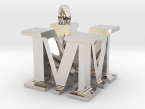 MM Monogram serifs  [pendant] in Rhodium Plated Brass
