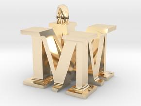 MM Monogram serifs  [pendant] in 14K Yellow Gold