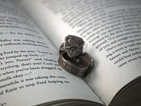 Ravenclaw Ring Size 8 in Polished Bronzed Silver Steel