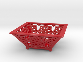 Ornate Dish in Gloss Red Porcelain