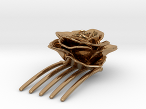 Rose Hair Comb in Polished Brass