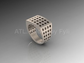 Chevalière Style Ring with Polka-Dots in Fine Detail Polished Silver: 8 / 56.75