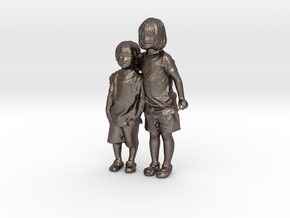Scanned Children 10CM High in Polished Bronzed Silver Steel
