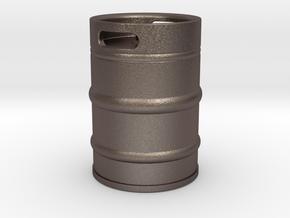 Oil cask in Polished Bronzed Silver Steel