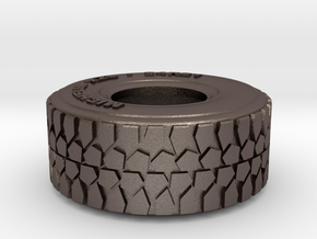 1:35 scale military truck tire in Polished Bronzed Silver Steel