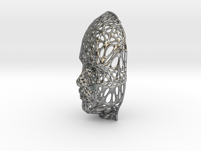 Femail Voronoi Face in Fine Detail Polished Silver