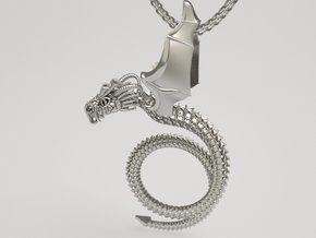 Scary Dragon pendant in Raw Silver