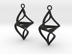 Twister earrings in Black Premium Versatile Plastic