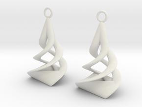 Twist earrings in White Premium Versatile Plastic