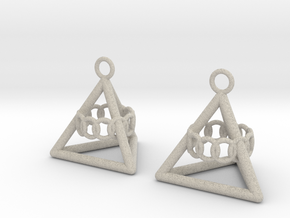 Pyramid triangle earrings serie 3 type 6 in Natural Sandstone
