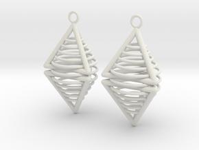 Pyramid triangle earrings serie 3 type 8 in White Premium Versatile Plastic