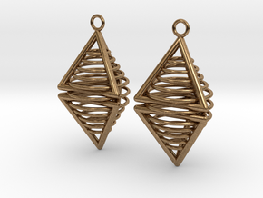Pyramid triangle earrings serie 3 type 8 in Natural Brass