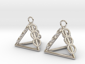 Pyramid triangle earrings serie 3 type 1 in Rhodium Plated Brass