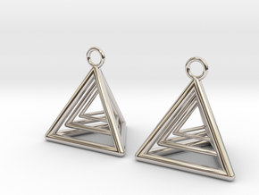 Pyramid triangle earrings type 9 in Platinum