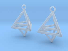 Pyramid triangle earrings type 10 in Smooth Fine Detail Plastic