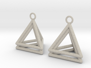 Pyramid triangle earrings type 4 in Natural Sandstone