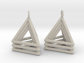 Pyramid triangle earrings type 5 in Natural Sandstone