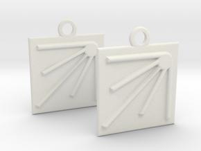 square sun earrings in White Natural Versatile Plastic
