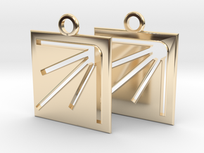 square sun hole earrings in 14k Gold Plated Brass