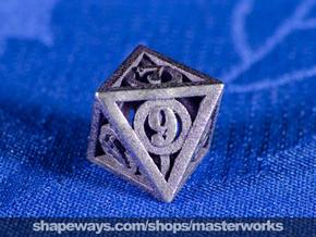 Deathly Hallows d8 in Polished Bronzed Silver Steel