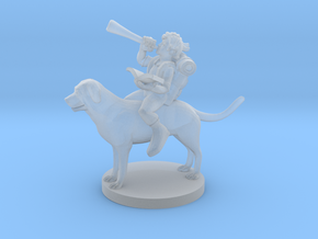 Halfling Bard on a Mastiff in Smooth Fine Detail Plastic