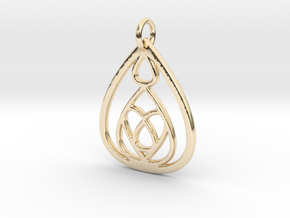 Mama's Milk Drop Pendant; Drops & Hearts in 14k Gold Plated Brass