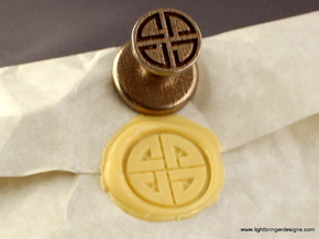 Shield Knot Wax Seal in Polished Bronzed Silver Steel