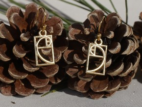 Golden Ratio Earrings in Natural Brass