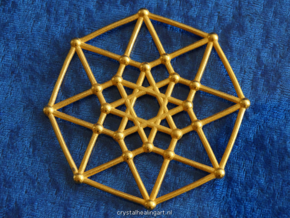 Tesseract - 4d Hypercube - E4 in Polished Gold Steel