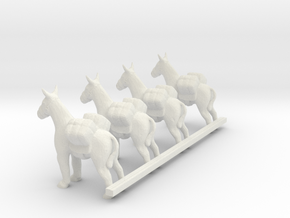 O Scale pack donkeys in White Natural Versatile Plastic