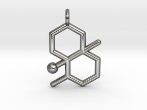 geosmin petrichor molecule pendant in Polished Silver